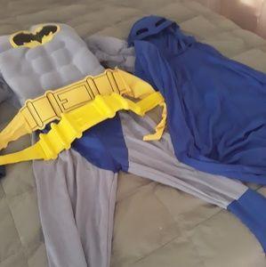 Boys Batman Halloween Costume Large Muscles Gray